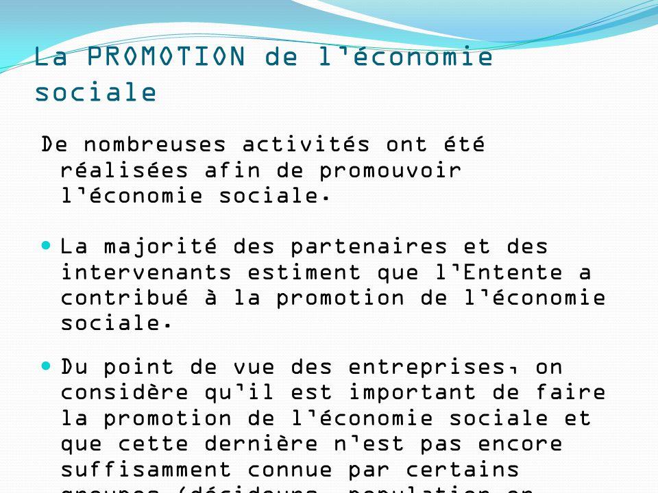 La PROMOTION de l'économie sociale De nombreuses activités ont été réalisées afin de promouvoir l'économie sociale. La majorité des partenaires et des