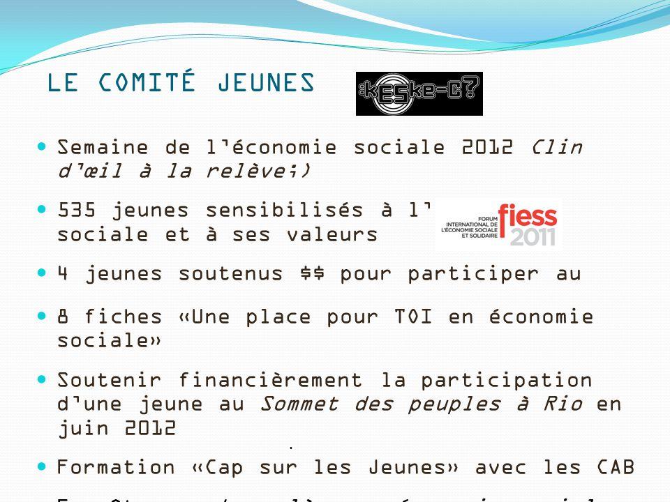 LE COMITÉ JEUNES Semaine de l'économie sociale 2012 Clin d'œil à la relève;) 535 jeunes sensibilisés à l'économie sociale et à ses valeurs 4 jeunes so