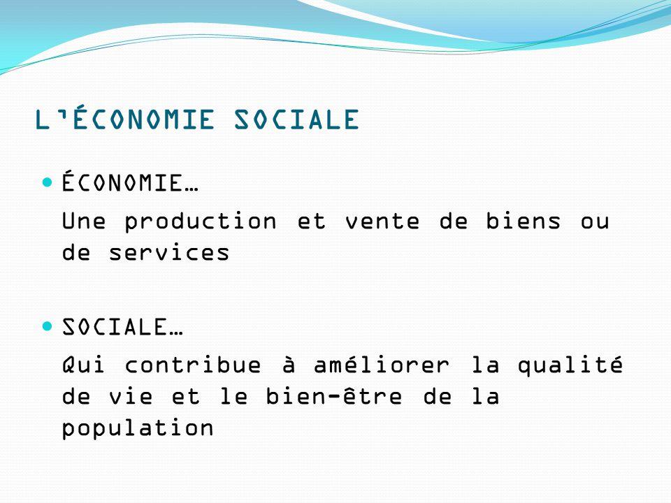 L'ÉCONOMIE SOCIALE ÉCONOMIE… Une production et vente de biens ou de services SOCIALE… Qui contribue à améliorer la qualité de vie et le bien-être de la population