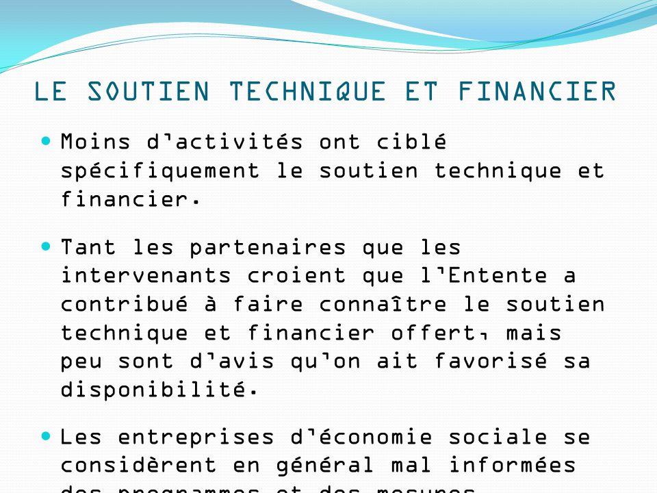 LE SOUTIEN TECHNIQUE ET FINANCIER Moins d'activités ont ciblé spécifiquement le soutien technique et financier. Tant les partenaires que les intervena
