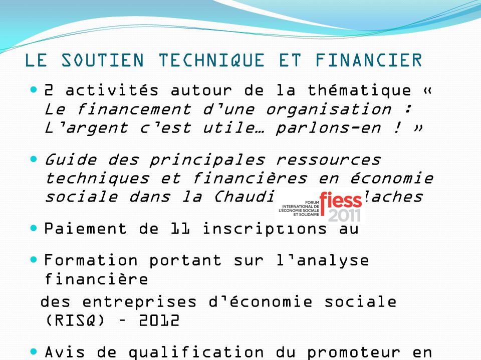 LE SOUTIEN TECHNIQUE ET FINANCIER 2 activités autour de la thématique « Le financement d'une organisation : L'argent c'est utile… parlons-en .