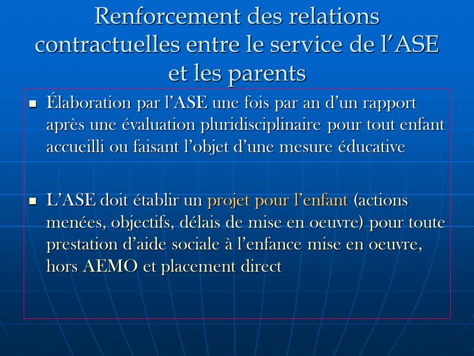 Renforcement des relations contractuelles entre le service de l'ASE et les parents Élaboration par l'ASE une fois par an d'un rapport après une évaluation pluridisciplinaire pour tout enfant accueilli ou faisant l'objet d'une mesure éducative Élaboration par l'ASE une fois par an d'un rapport après une évaluation pluridisciplinaire pour tout enfant accueilli ou faisant l'objet d'une mesure éducative L'ASE doit établir un projet pour l'enfant (actions menées, objectifs, délais de mise en oeuvre) pour toute prestation d'aide sociale à l'enfance mise en oeuvre, hors AEMO et placement direct L'ASE doit établir un projet pour l'enfant (actions menées, objectifs, délais de mise en oeuvre) pour toute prestation d'aide sociale à l'enfance mise en oeuvre, hors AEMO et placement direct
