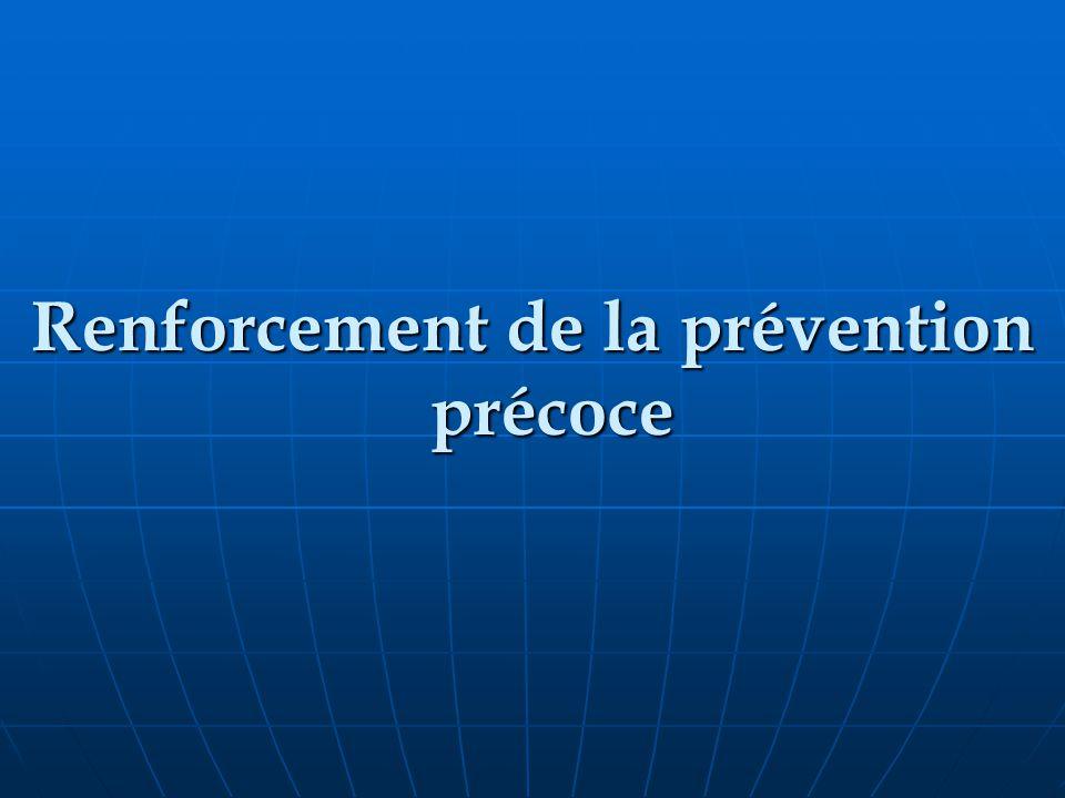 Renforcement de la prévention précoce