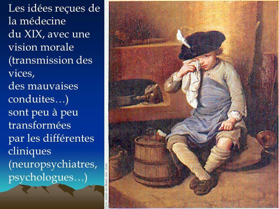 Les idées reçues de la médecine du XIX, avec une vision morale (transmission des vices, des mauvaises conduites…) sont peu à peu transformées par les