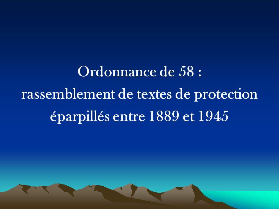 Ordonnance de 58 : rassemblement de textes de protection éparpillés entre 1889 et 1945
