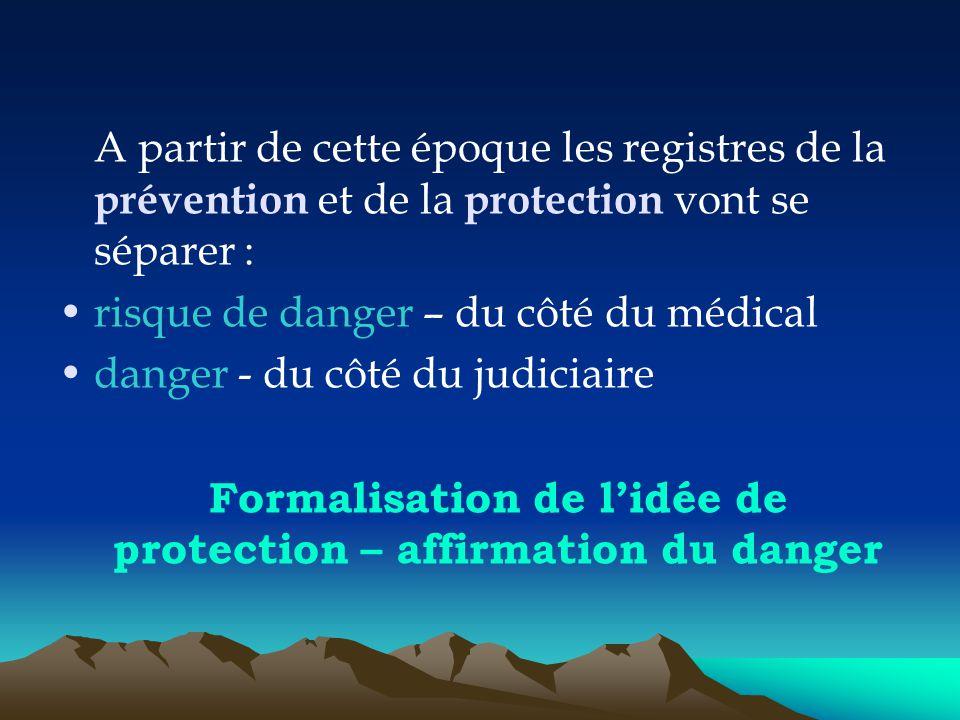 A partir de cette époque les registres de la prévention et de la protection vont se séparer : risque de danger – du côté du médical danger - du côté d