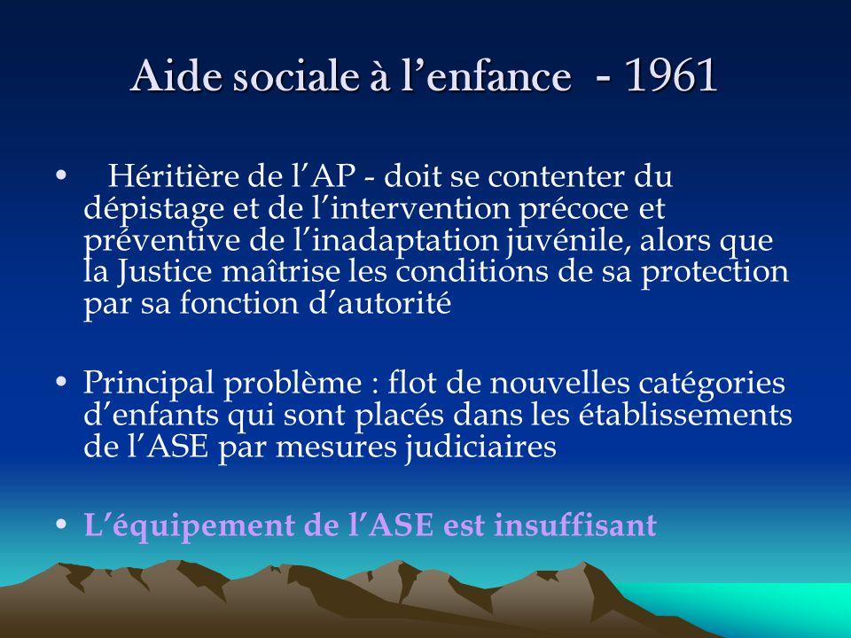 Aide sociale à l'enfance - 1961 Héritière de l'AP - doit se contenter du dépistage et de l'intervention précoce et préventive de l'inadaptation juvéni