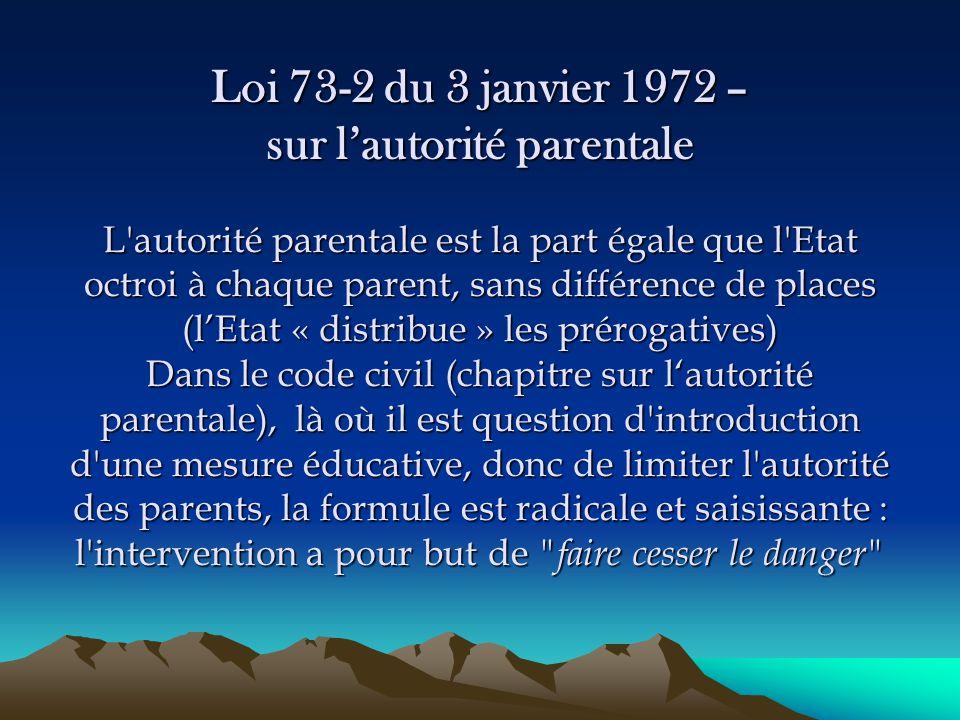 Loi 73-2 du 3 janvier 1972 – sur l'autorité parentale L'autorité parentale est la part égale que l'Etat octroi à chaque parent, sans différence de pla