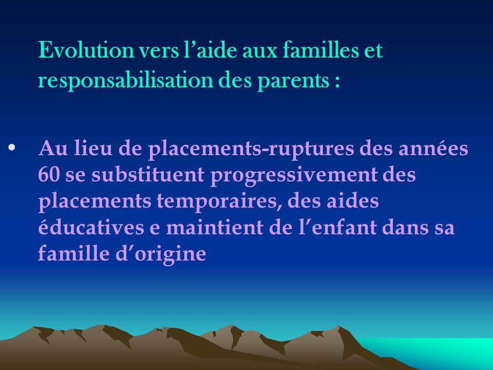 Evolution vers l'aide aux familles et responsabilisation des parents : Au lieu de placements-ruptures des années 60 se substituent progressivement des