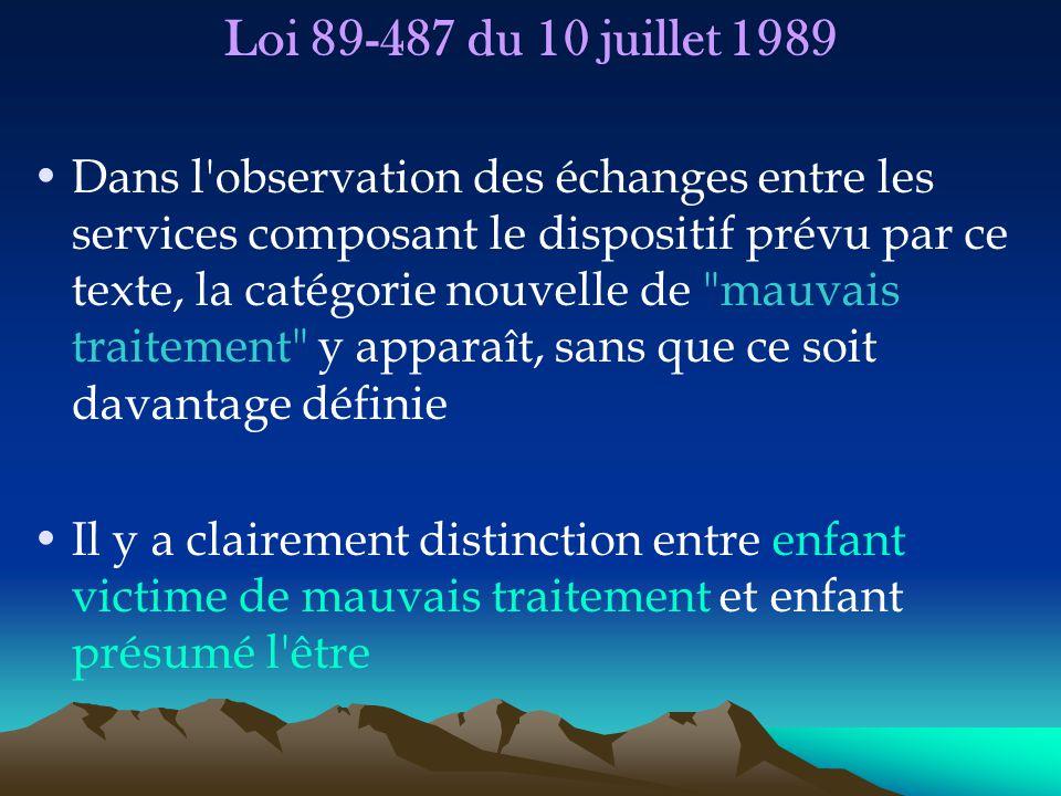 Loi 89-487 du 10 juillet 1989 Dans l'observation des échanges entre les services composant le dispositif prévu par ce texte, la catégorie nouvelle de