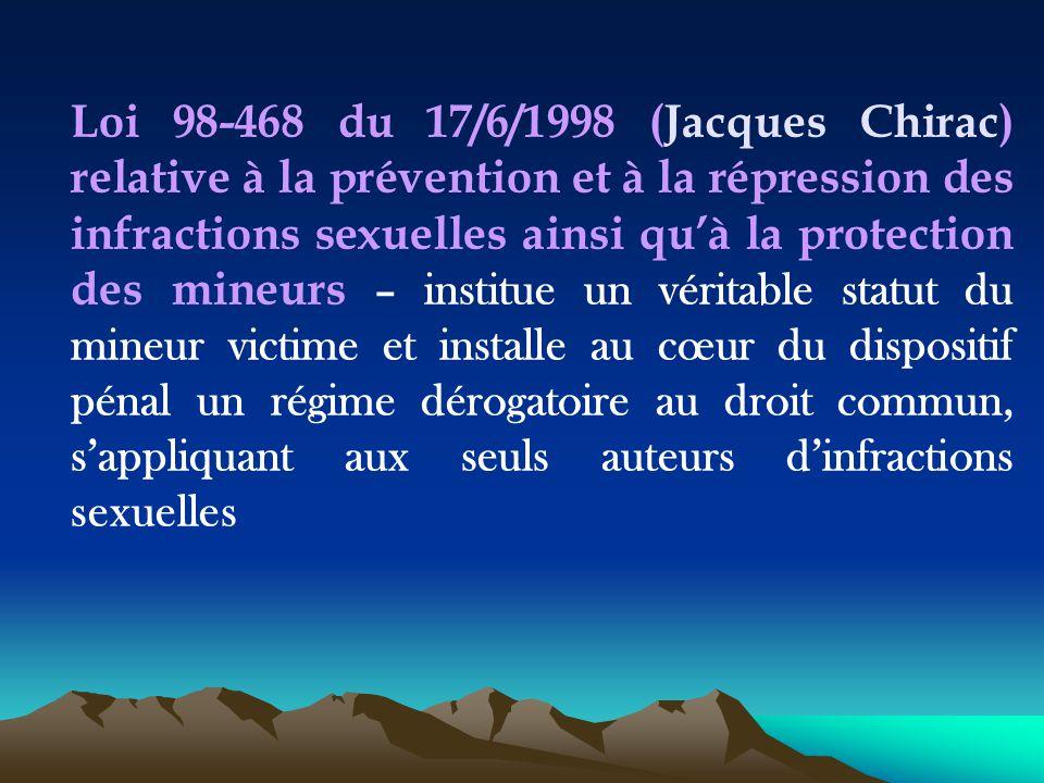 Loi 98-468 du 17/6/1998 (Jacques Chirac) relative à la prévention et à la répression des infractions sexuelles ainsi qu'à la protection des mineurs –