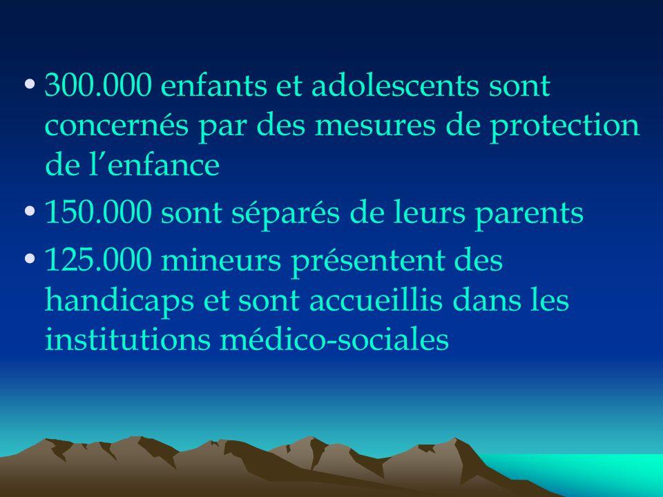 300.000 enfants et adolescents sont concernés par des mesures de protection de l'enfance 150.000 sont séparés de leurs parents 125.000 mineurs présent