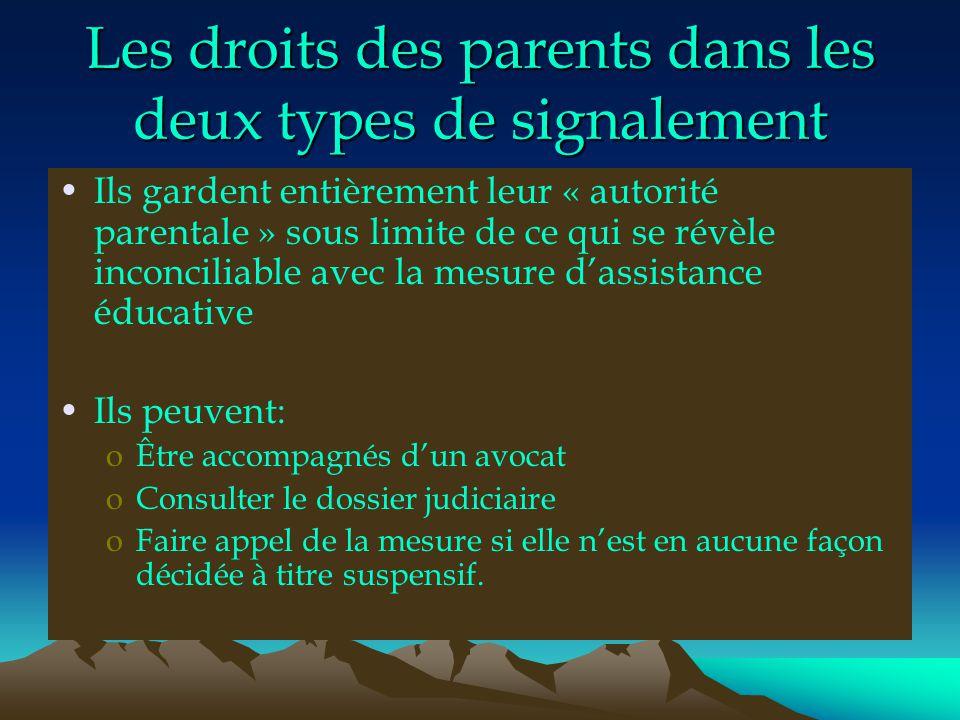 Les droits des parents dans les deux types de signalement Ils gardent entièrement leur « autorité parentale » sous limite de ce qui se révèle inconcil