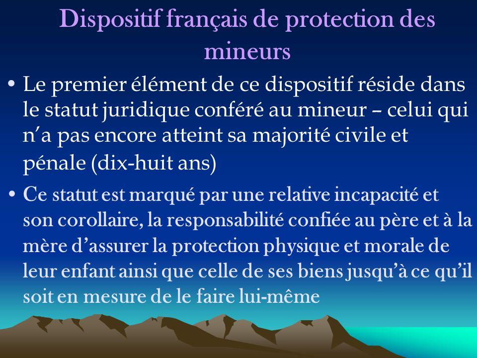 Dispositif français de protection des mineurs Le premier élément de ce dispositif réside dans le statut juridique conféré au mineur – celui qui n'a pa