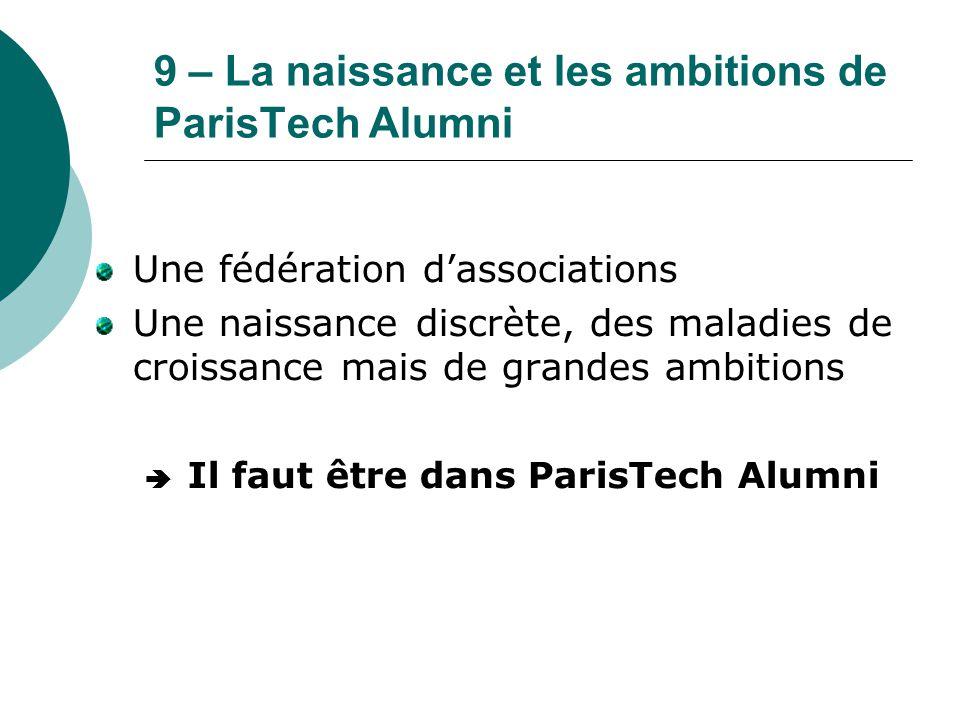 9 – La naissance et les ambitions de ParisTech Alumni Une fédération d'associations Une naissance discrète, des maladies de croissance mais de grandes