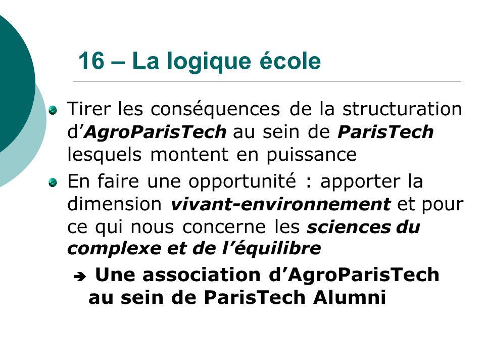 16 – La logique école Tirer les conséquences de la structuration d' AgroParisTech au sein de ParisTech lesquels montent en puissance En faire une oppo
