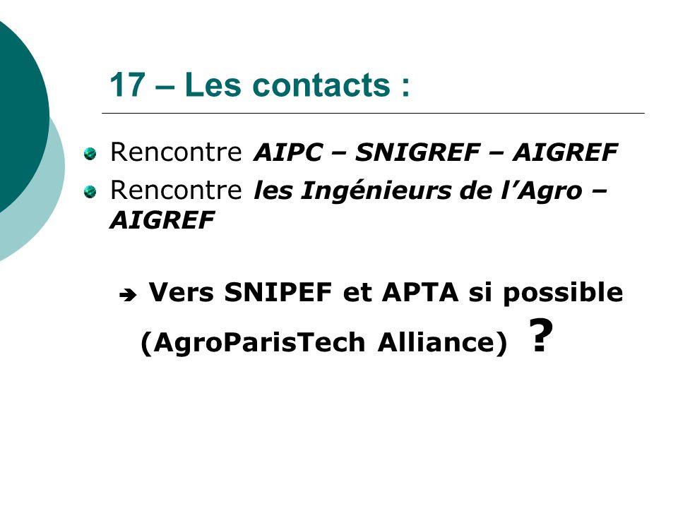 17 – Les contacts : Rencontre AIPC – SNIGREF – AIGREF Rencontre les Ingénieurs de l'Agro – AIGREF  Vers SNIPEF et APTA si possible (AgroParisTech All
