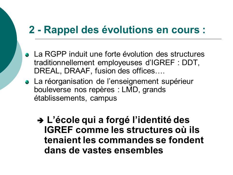 2 - Rappel des évolutions en cours : La RGPP induit une forte évolution des structures traditionnellement employeuses d'IGREF : DDT, DREAL, DRAAF, fus