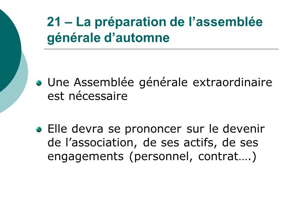 21 – La préparation de l'assemblée générale d'automne Une Assemblée générale extraordinaire est nécessaire Elle devra se prononcer sur le devenir de l