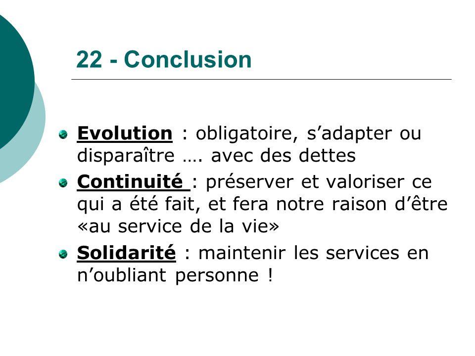 22 - Conclusion Evolution : obligatoire, s'adapter ou disparaître …. avec des dettes Continuité : préserver et valoriser ce qui a été fait, et fera no