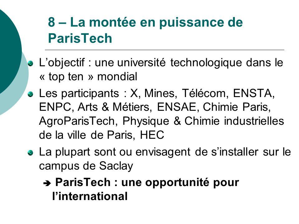 8 – La montée en puissance de ParisTech L'objectif : une université technologique dans le « top ten » mondial Les participants : X, Mines, Télécom, EN