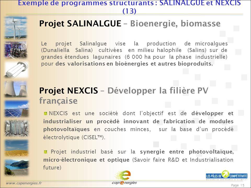 www.capenergies.fr Page 15 Exemple de programmes structurants : SALINALGUE et NEXCIS (13) Projet SALINALGUE – Bioenergie, biomasse Le projet Salinalgue vise la production de microalgues (Dunaliella Salina) cultivées en milieu halophile (Salins) sur de grandes étendues lagunaires (6 000 ha pour la phase industrielle) pour des valorisations en bioénergies et autres bioproduits.