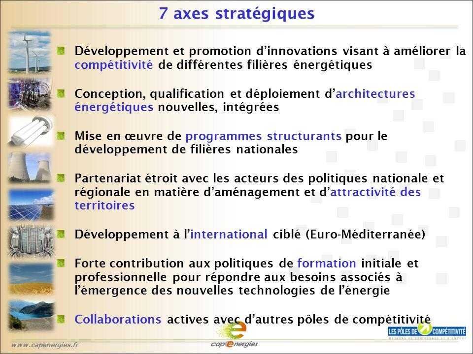 www.capenergies.fr 7 axes stratégiques Développement et promotion d'innovations visant à améliorer la compétitivité de différentes filières énergétiques Conception, qualification et déploiement d'architectures énergétiques nouvelles, intégrées Mise en œuvre de programmes structurants pour le développement de filières nationales Partenariat étroit avec les acteurs des politiques nationale et régionale en matière d'aménagement et d'attractivité des territoires Développement à l'international ciblé (Euro-Méditerranée) Forte contribution aux politiques de formation initiale et professionnelle pour répondre aux besoins associés à l'émergence des nouvelles technologies de l'énergie Collaborations actives avec d'autres pôles de compétitivité