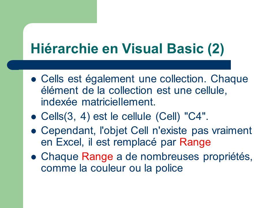Hiérarchie en Visual Basic (2) Cells est également une collection. Chaque élément de la collection est une cellule, indexée matriciellement. Cells(3,
