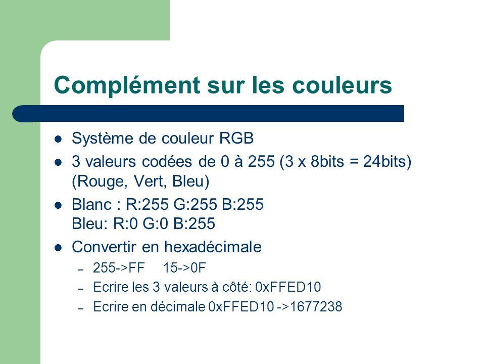 Complément sur les couleurs Système de couleur RGB 3 valeurs codées de 0 à 255 (3 x 8bits = 24bits) (Rouge, Vert, Bleu) Blanc : R:255 G:255 B:255 Bleu