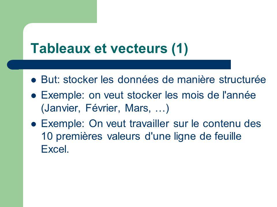 Tableaux et vecteurs (1) But: stocker les données de manière structurée Exemple: on veut stocker les mois de l'année (Janvier, Février, Mars, …) Exemp
