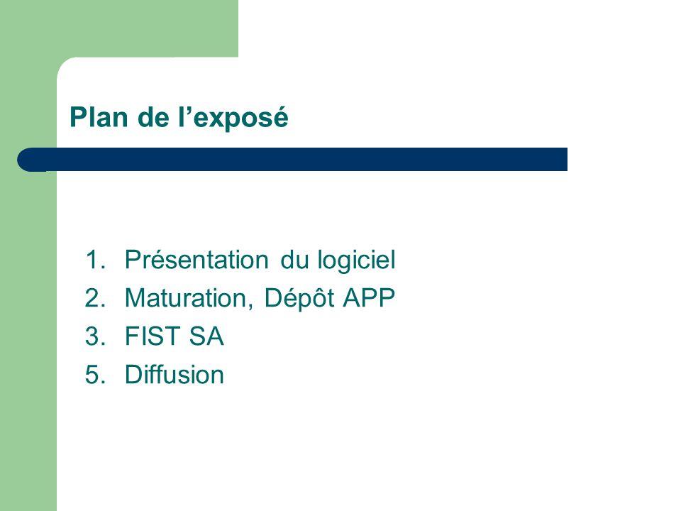Plan de l'exposé 1.Présentation du logiciel 2.Maturation, Dépôt APP 3.FIST SA 5.Diffusion