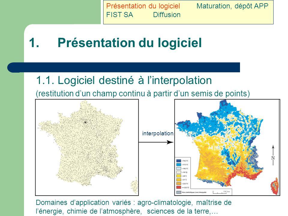 1.Présentation du logiciel 1.1. Logiciel destiné à l'interpolation (restitution d'un champ continu à partir d'un semis de points) Domaines d'applicati