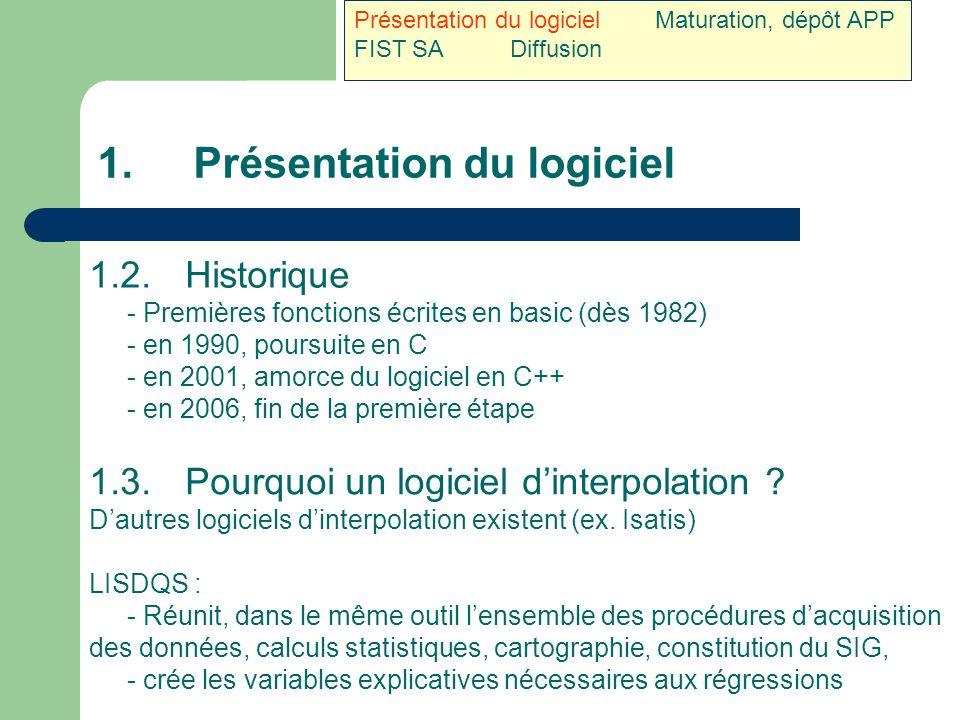 1.Présentation du logiciel 1.2.Historique - Premières fonctions écrites en basic (dès 1982) - en 1990, poursuite en C - en 2001, amorce du logiciel en