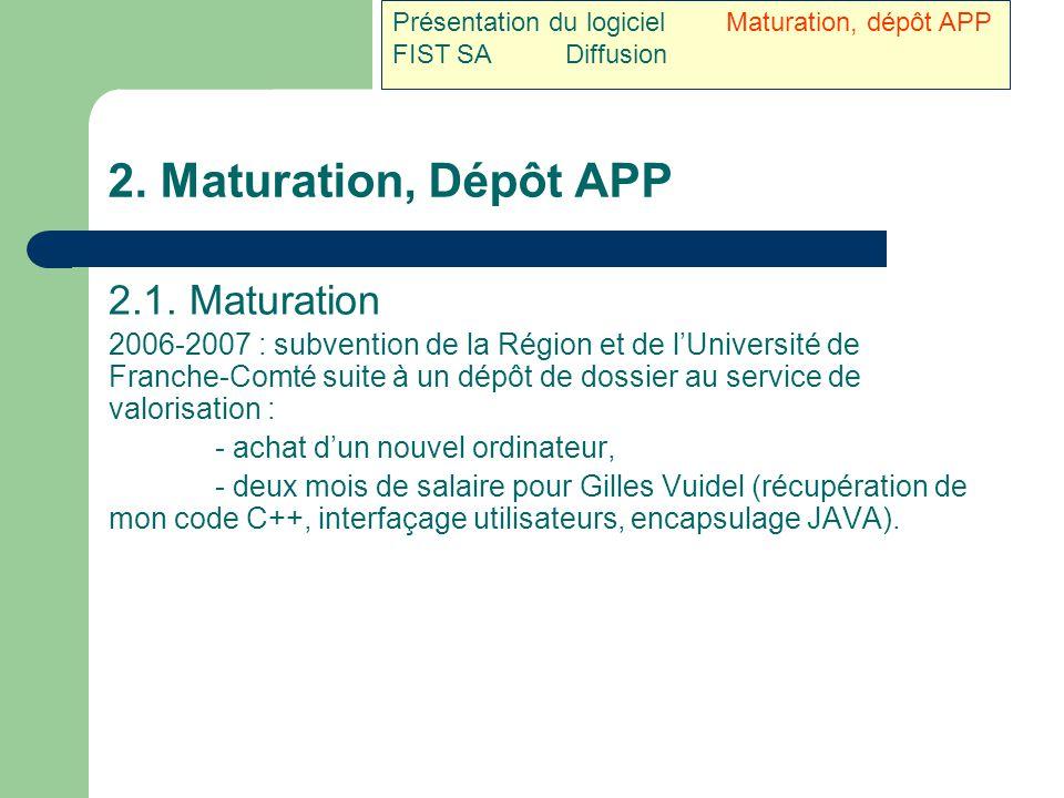 2. Maturation, Dépôt APP 2.1. Maturation 2006-2007 : subvention de la Région et de l'Université de Franche-Comté suite à un dépôt de dossier au servic