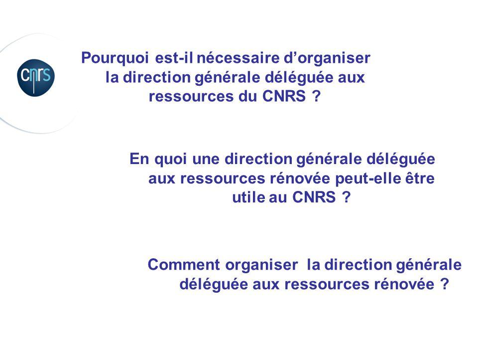 Pourquoi est-il nécessaire d'organiser la direction générale déléguée aux ressources du CNRS ?