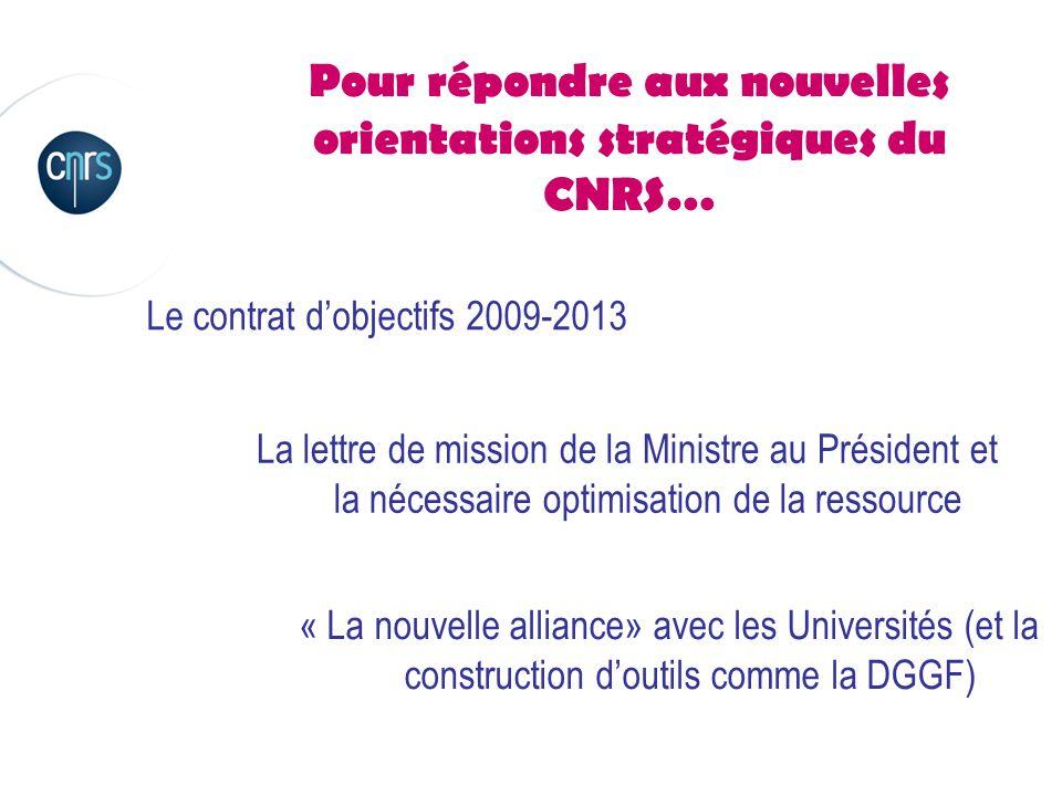 Pour relever les défis qui s'annoncent… Défi n°1 : dans un environnement budgétaire désormais incertain, maintenir la capacité d'action du CNRS Défi n°2 : dans la construction d'une relation de confiance avec les Universités au profit de la recherche publique, montrer que, face aux prés carrés et aux résistance, le CNRS est l'élément fédérateur indispensable de la recherche française Défi n°3 : dans ce contexte changeant, renforcer l'identité du CNRS en l'affirmant comme figure de proue de ces évolutions