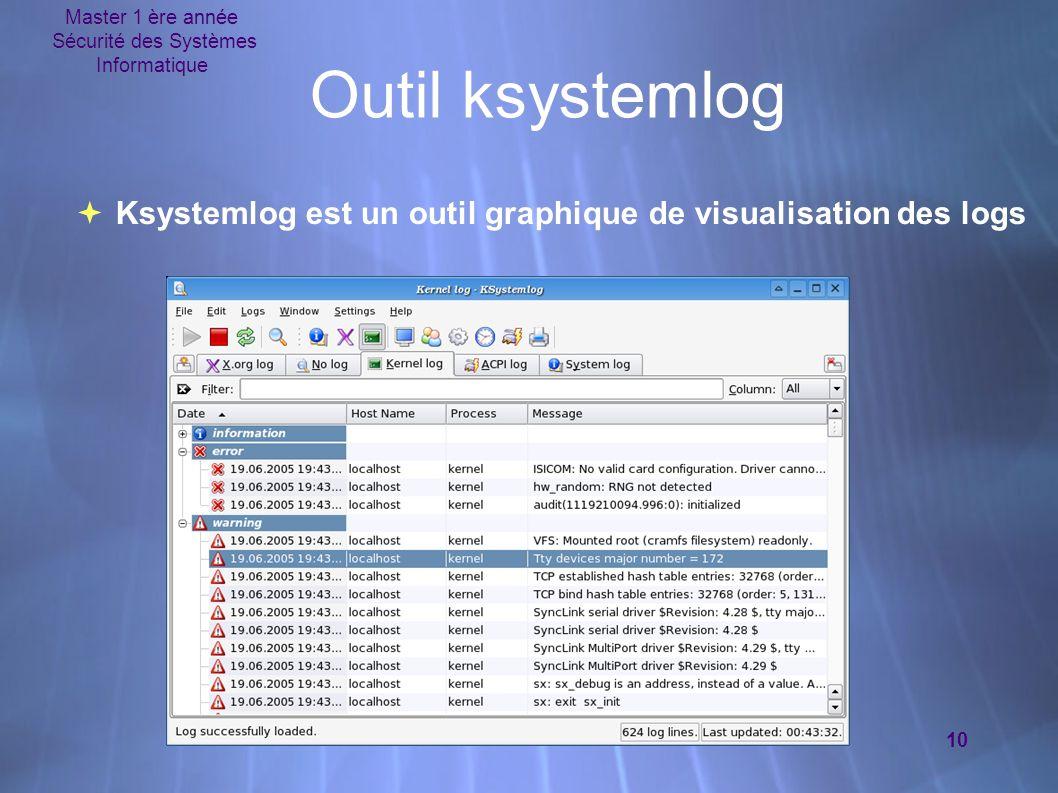 Master 1 ère année Sécurité des Systèmes Informatique 10 Outil ksystemlog  Ksystemlog est un outil graphique de visualisation des logs  Ksystemlog e