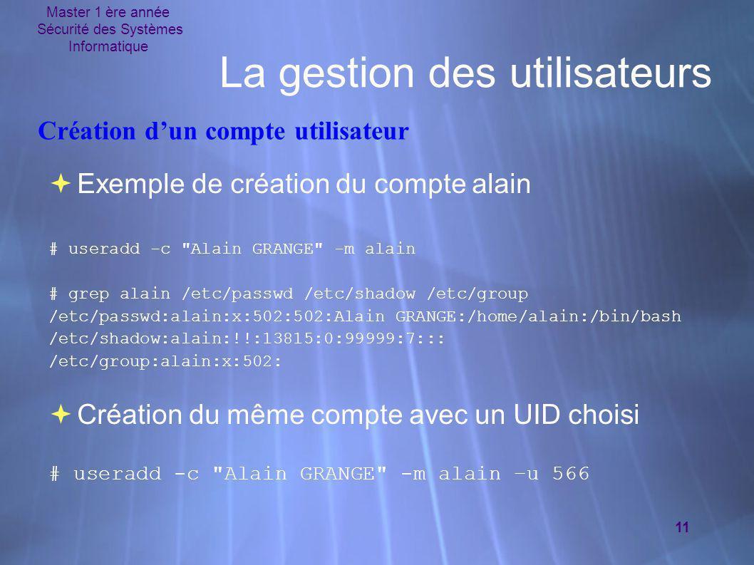 Master 1 ère année Sécurité des Systèmes Informatique 11 La gestion des utilisateurs  Exemple de création du compte alain # useradd -c