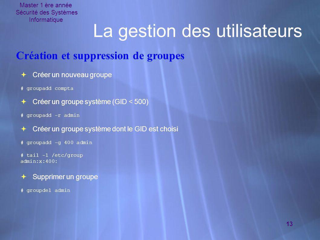 Master 1 ère année Sécurité des Systèmes Informatique 13 La gestion des utilisateurs  Créer un nouveau groupe # groupadd compta  Créer un groupe sys