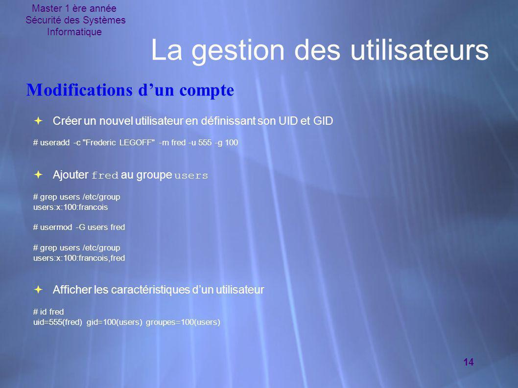 Master 1 ère année Sécurité des Systèmes Informatique 14 La gestion des utilisateurs  Créer un nouvel utilisateur en définissant son UID et GID # use