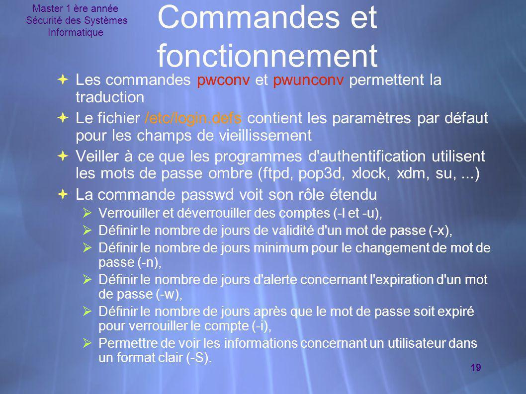 Master 1 ère année Sécurité des Systèmes Informatique 19 Commandes et fonctionnement  Les commandes pwconv et pwunconv permettent la traduction  Le