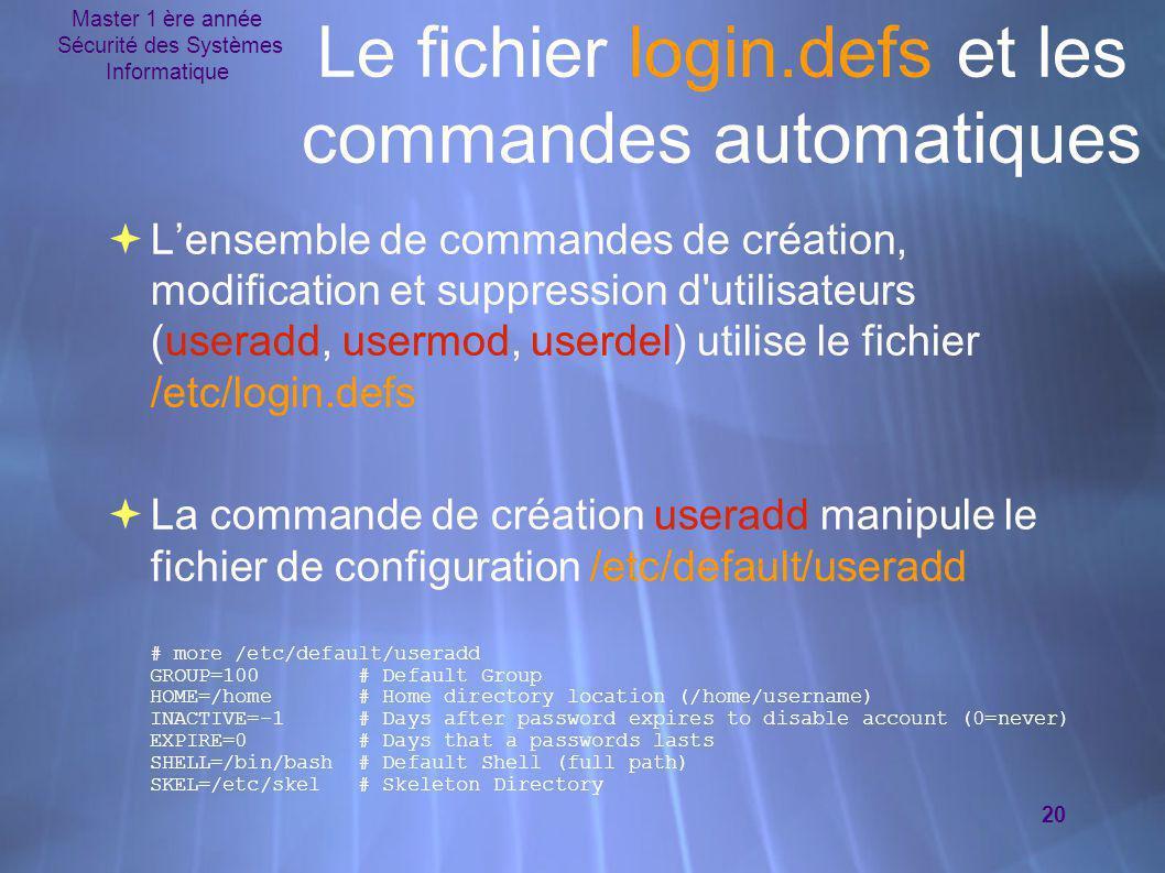 Master 1 ère année Sécurité des Systèmes Informatique 20 Le fichier login.defs et les commandes automatiques  L'ensemble de commandes de création, mo