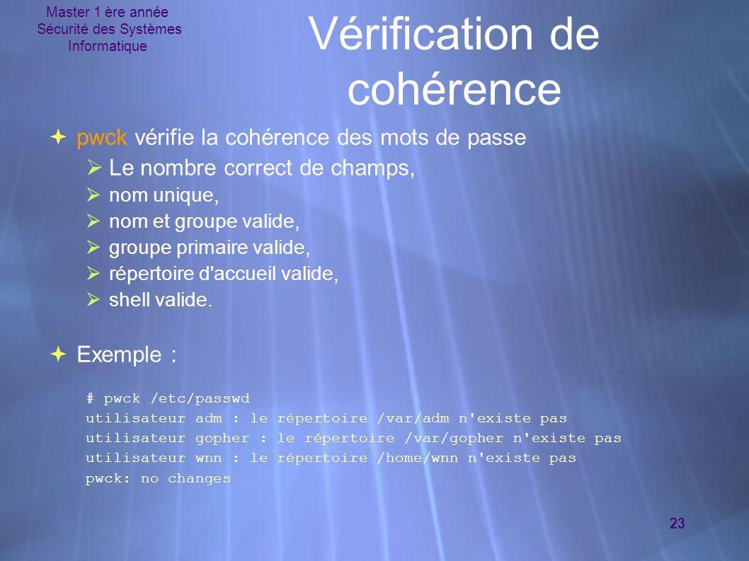 Master 1 ère année Sécurité des Systèmes Informatique 23 Vérification de cohérence  pwck vérifie la cohérence des mots de passe  Le nombre correct d
