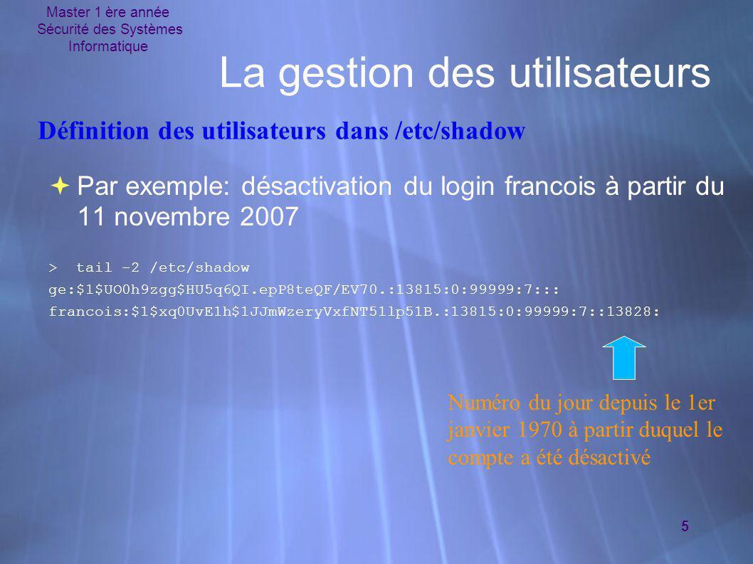 Master 1 ère année Sécurité des Systèmes Informatique 5 La gestion des utilisateurs  Par exemple: désactivation du login francois à partir du 11 nove