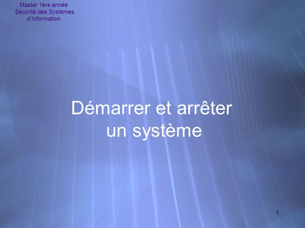 Master 1ère année Sécurité des Systèmes d'Information 1 Démarrer et arrêter un système