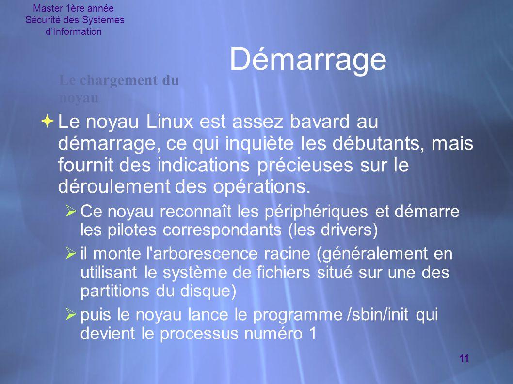 Master 1ère année Sécurité des Systèmes d'Information 11 Démarrage  Le noyau Linux est assez bavard au démarrage, ce qui inquiète les débutants, mais fournit des indications précieuses sur le déroulement des opérations.