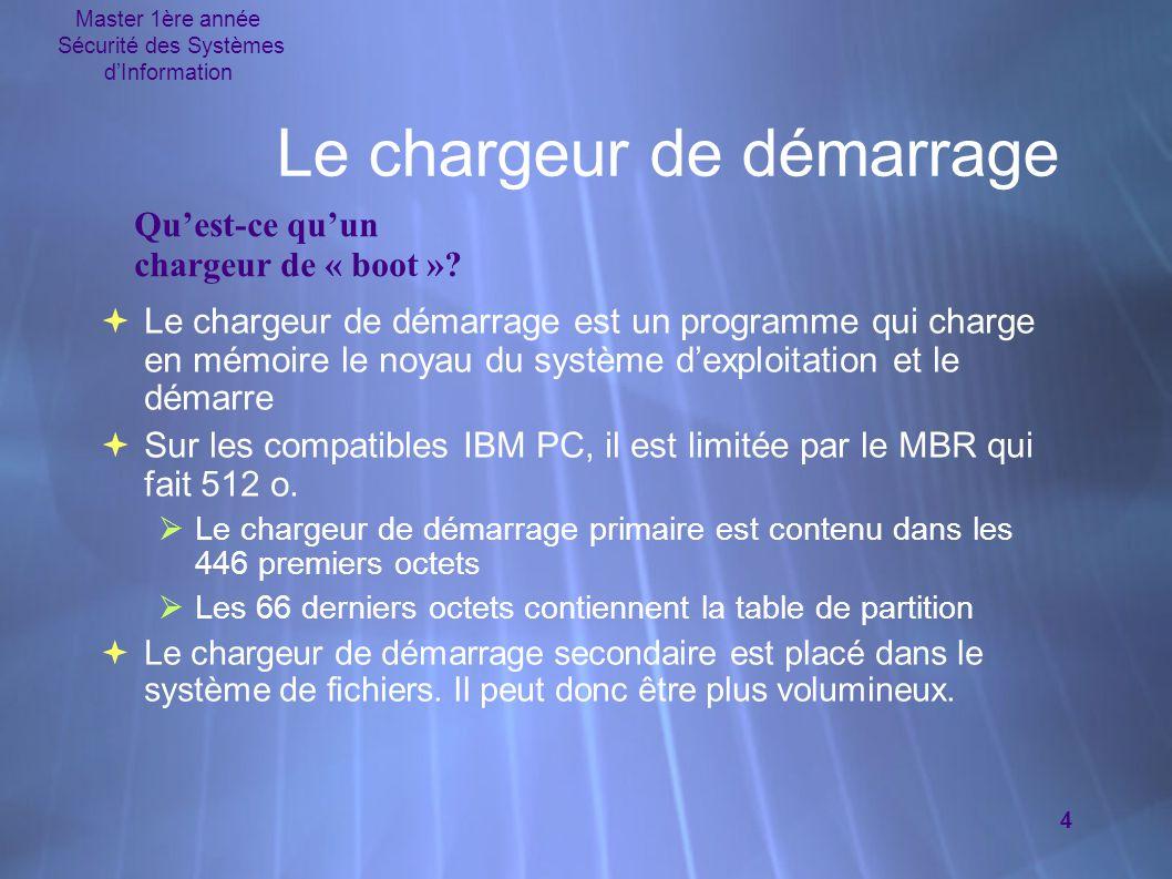 Master 1ère année Sécurité des Systèmes d'Information 4 Le chargeur de démarrage  Le chargeur de démarrage est un programme qui charge en mémoire le noyau du système d'exploitation et le démarre  Sur les compatibles IBM PC, il est limitée par le MBR qui fait 512 o.