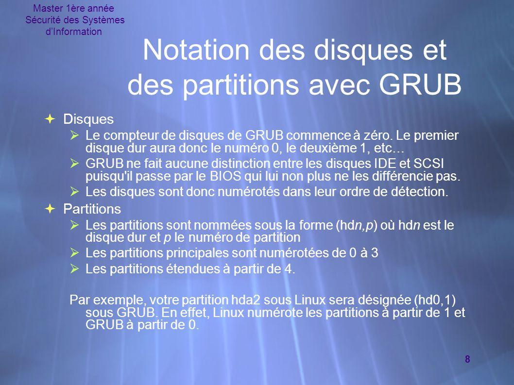 Master 1ère année Sécurité des Systèmes d'Information 8 Notation des disques et des partitions avec GRUB  Disques  Le compteur de disques de GRUB commence à zéro.