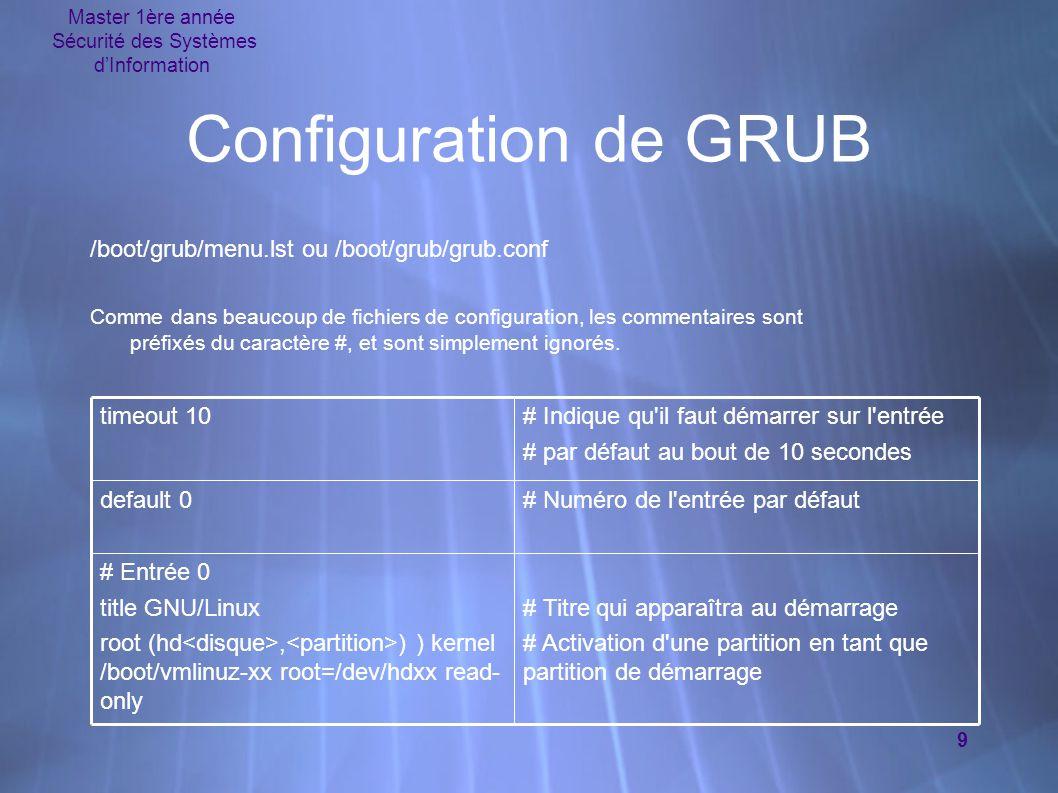 Master 1ère année Sécurité des Systèmes d'Information 9 Configuration de GRUB /boot/grub/menu.lst ou /boot/grub/grub.conf Comme dans beaucoup de fichiers de configuration, les commentaires sont préfixés du caractère #, et sont simplement ignorés.