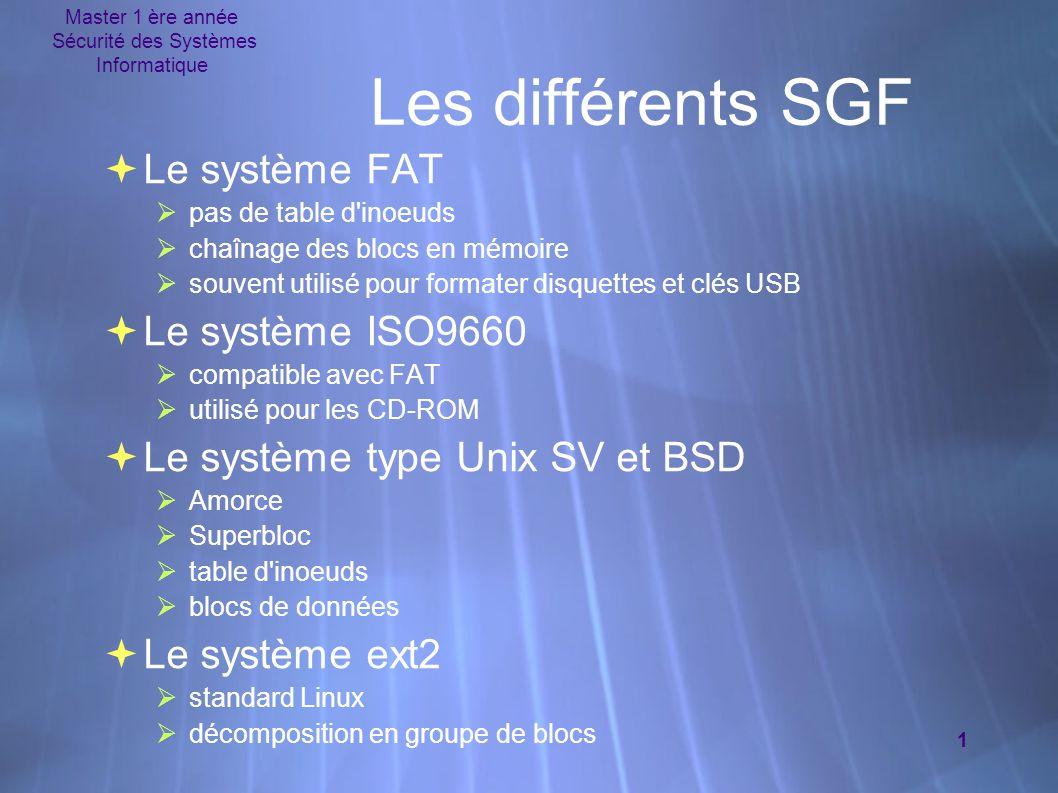 Master 1 ère année Sécurité des Systèmes Informatique 1 Les différents SGF  Le système FAT  pas de table d'inoeuds  chaînage des blocs en mémoire 
